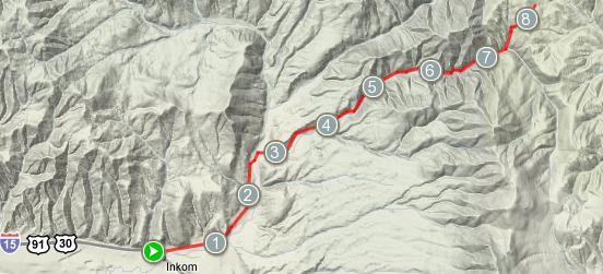 Inman Canyon terrain map