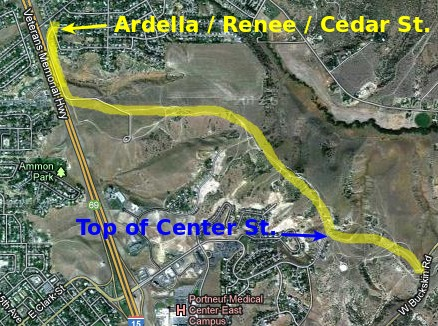 Cedar - Center - Buckskin trail map